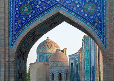 1 Vue sur le mausolee de Shahi Zinda et ses domes