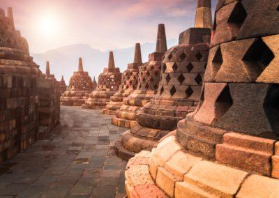 6 Lever de soleil sur le temple de Borobodur Unesco