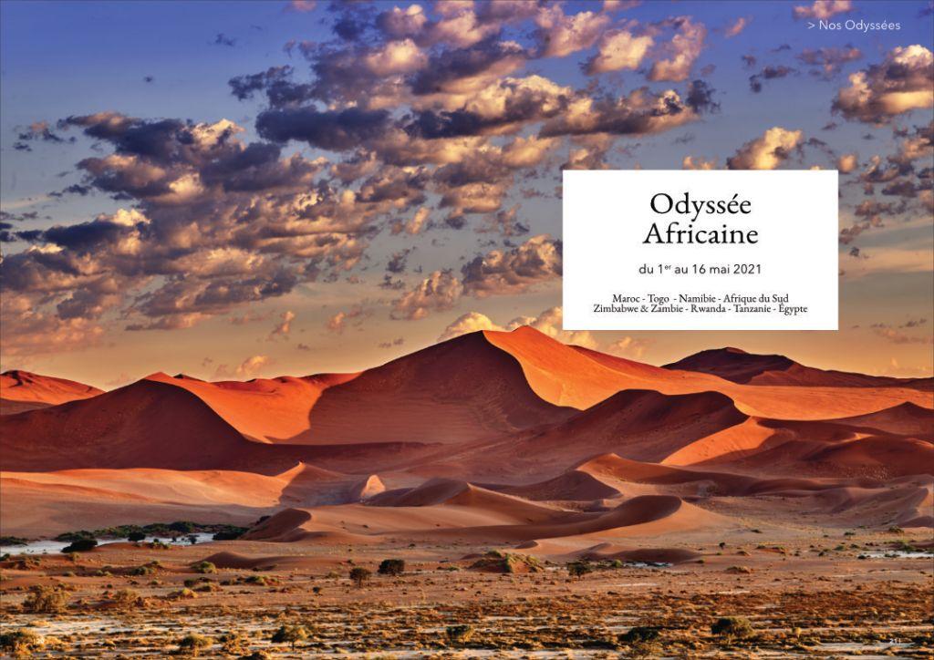 Double page brochure Odyssée Africaine - désert du Namib