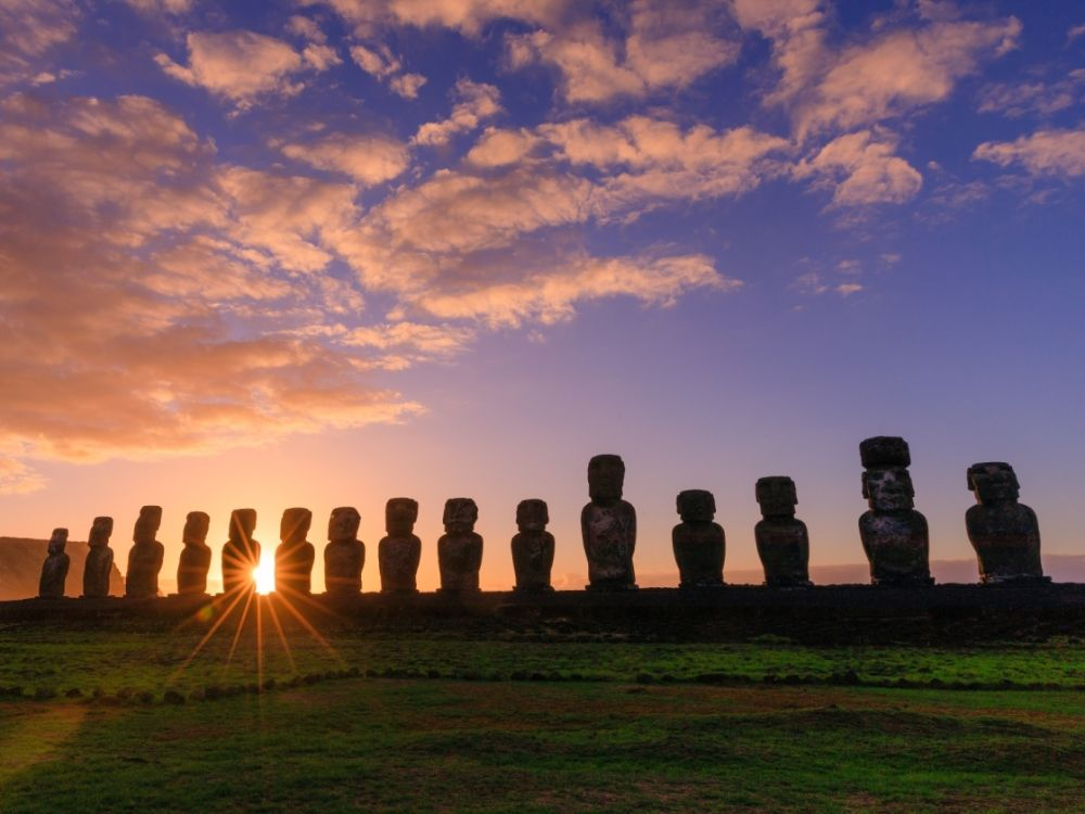 Coucher de soleil sur l'Île de Pâques