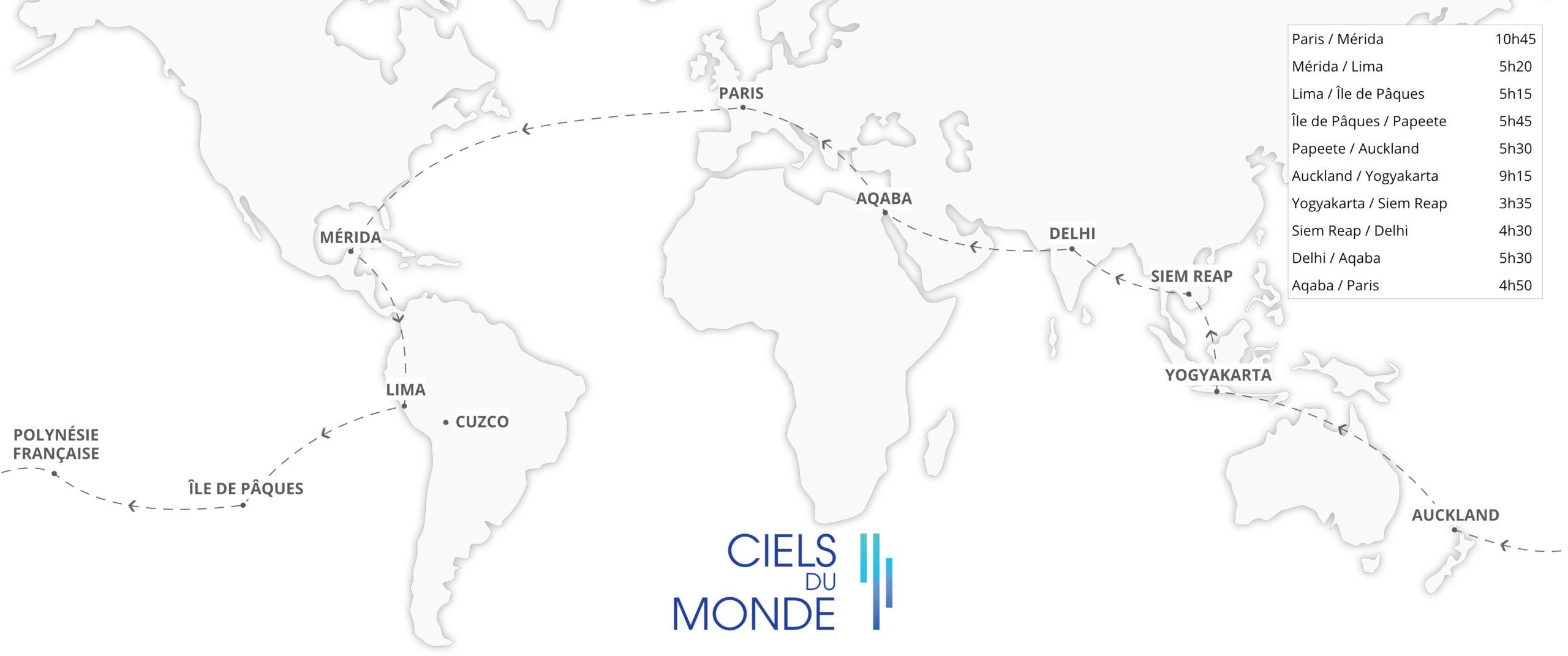 Tour du Monde - Visages et Civilisations du Monde - Temps de vol