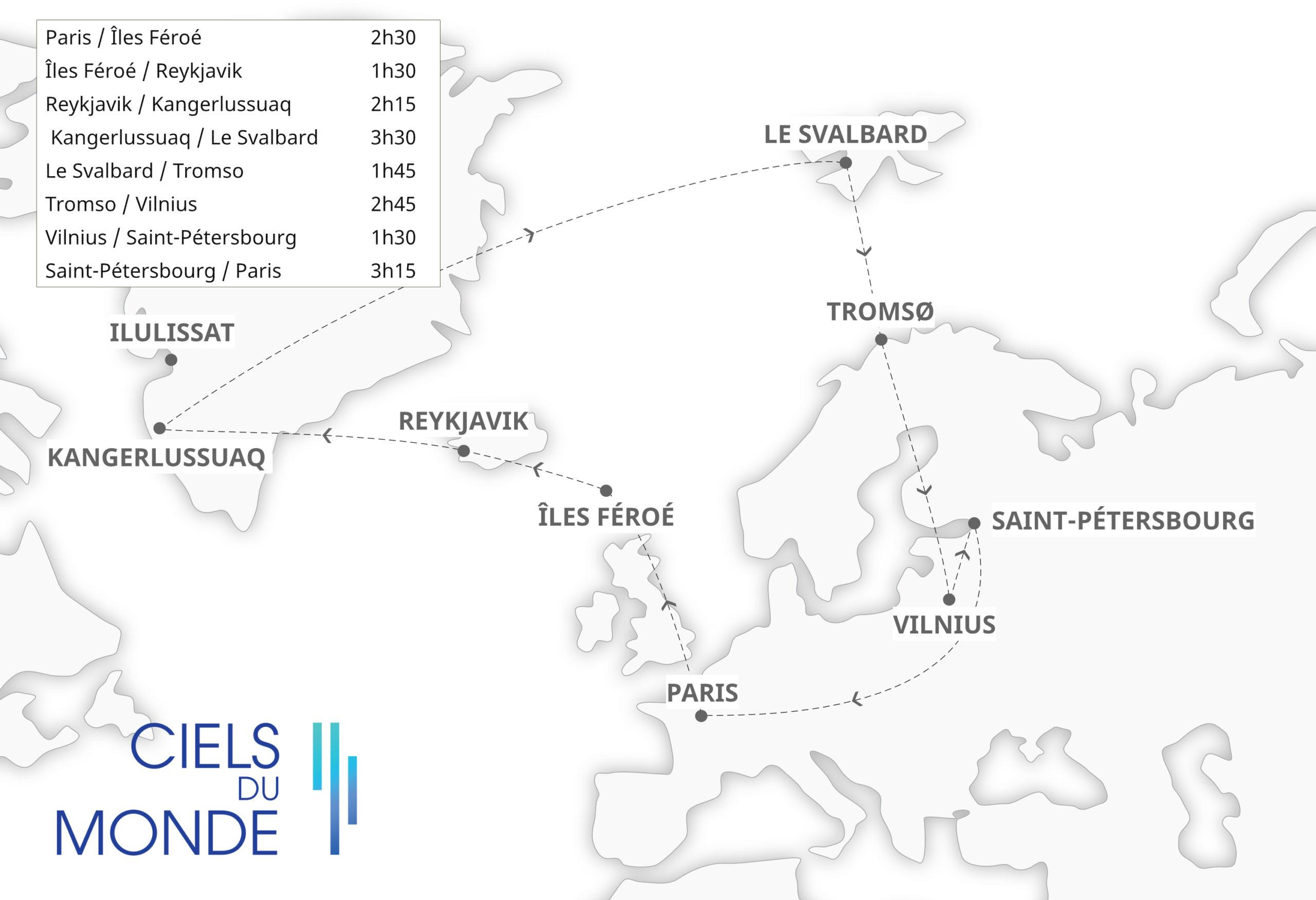 Odyssée Européenne - Nuits blanches et soleils de minuit - Temps de vol