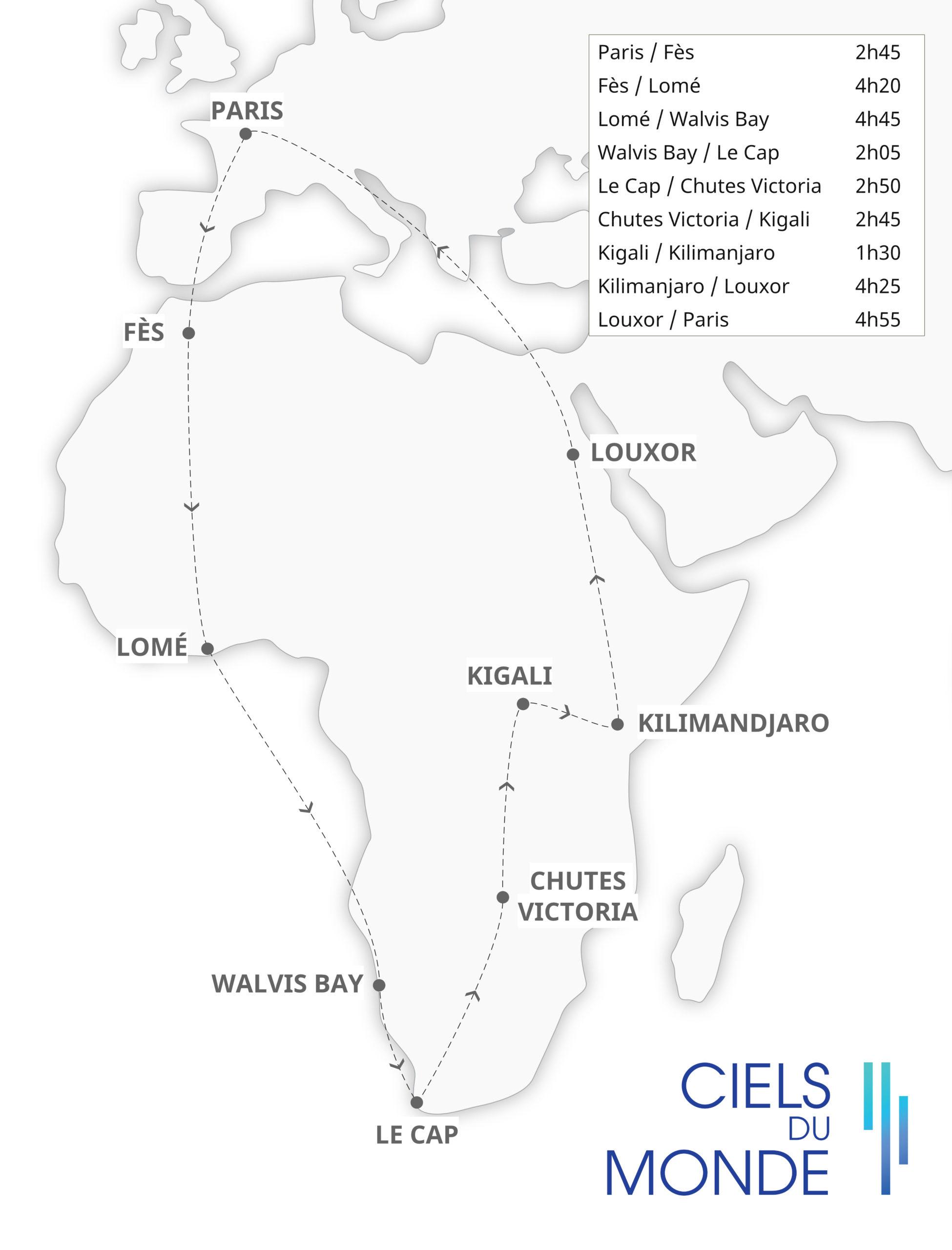 Odyssée Africaine - Temps de vol
